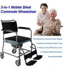 Mobile Steel Commode Wheelchair Bedside Toilet Chair Rolling Chair