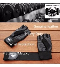 New Leather Gym Muscle Bodybuilding Wrist Fitness Weight Lifting Training Gloves