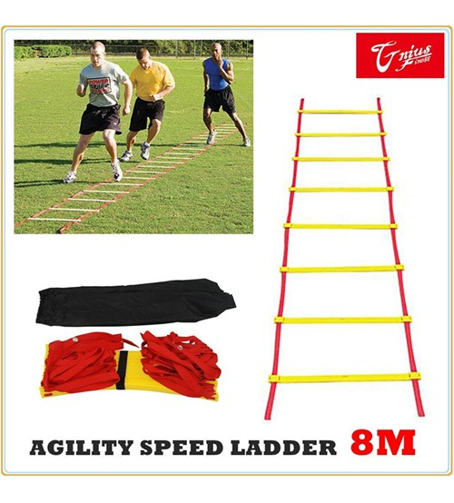 NEW AGILITY LADDER SPEED SPORT TRAINING 8M SOCCER FITNESS BOXING 21 RUNGS BAG