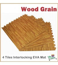 Free Post New 4 Tiles Wood Home Yoga Gym Fitness Interlocking EVA Foam Floor Mat