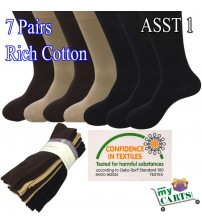 7 Pairs Premium Cotton Men's Business Casual Dress work Socks: 6-11, 11-14