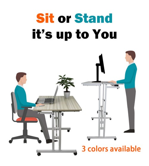 Wheel Mobile Stand Up Desk Height Adjustable Home Office Desk Stand and Seating