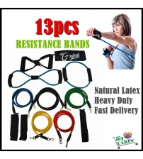 NEW 13PCS RESISTANCE FITNESS EXERCISE BANDS SET TUBE HOME DOOR YOGA LOOP GYM ABS