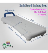 Free Post Deluxe adjustableBath Board Bathtub Seat with Grab Handle