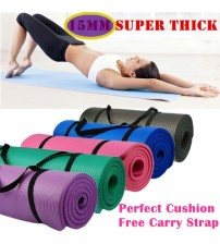 Free Postage New 15MM NBR SuperThick Pilate Yoga Gym Mat NonSlip Free CarryStrap